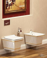 Чаша подвесного унитаза IDEVIT Neo Classic Белый Золото ( с сиденьем), фото 1