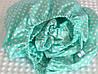 Сатинова простинь на резинці 60х120 см. м'ятного кольору в горошок (0222)