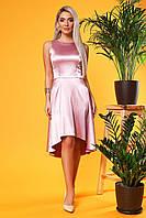 Атласное платье розового цвета