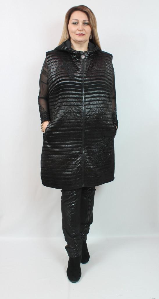 Удлиненная женская жилетка из искусственной кожи Турция, размеры 54-64