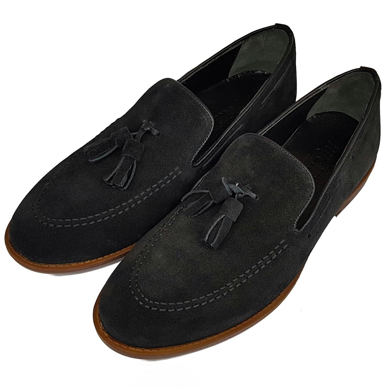 Мужские замшевые туфли лоферы с кисточками Rifellini черные L0010/10