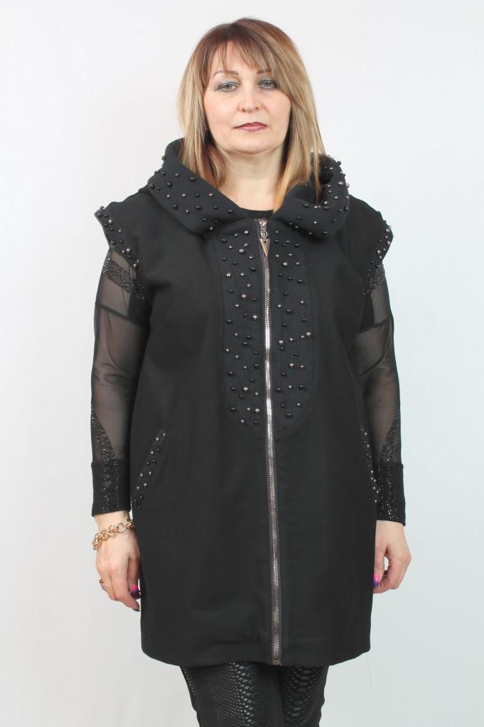 Женская жилетка с капюшоном Турция, размеры 50-56