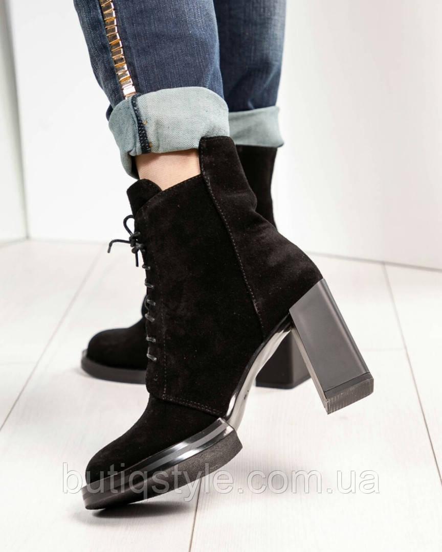 38,40 размер Женские черные ботильоны на шнуровке натуральная замша, на каблуке