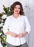Сорочка жіноча класична з кишенями батал 50-56р.(ченрн,біла), фото 3