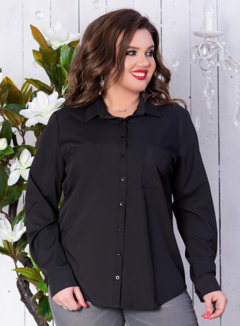 Рубашка женская классическая с карманами батал 50-56р.(ченрн,белая)