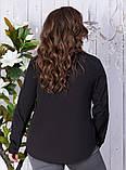 Сорочка жіноча класична з кишенями батал 50-56р.(ченрн,біла), фото 2