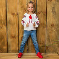 Вышиванка рубашка  для девочки жар -птица красная, фото 1