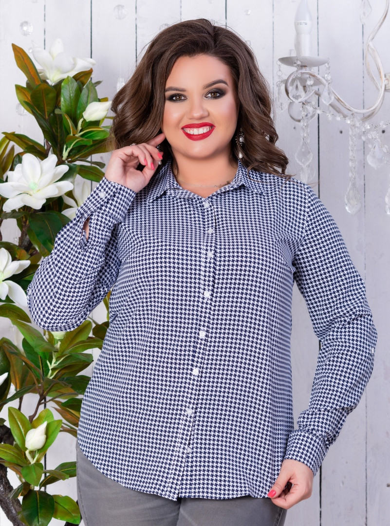 bacda373a1c Рубашка женская классическая с принтом 50-56 (3 расцв)  продажа ...