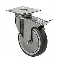 Колеса поворотные с крепежной панелью и тормозом (подшипник скольжения) Диаметр: 50мм.Серия 23 Light
