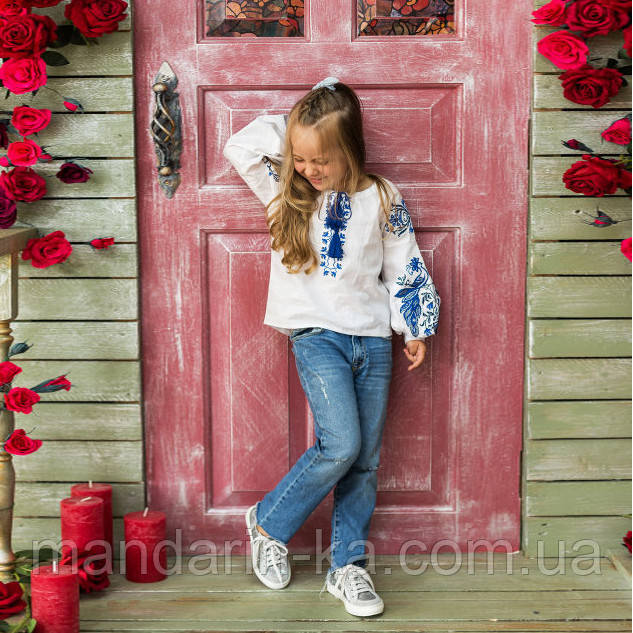 Вышиванка рубашка  для девочки жар -птица синяя