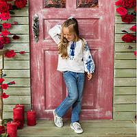 Вышиванка рубашка  для девочки жар -птица синяя, фото 1