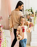 Вышиванка рубашка  для девочки трояндочка  на  пудровой  ткани, фото 4