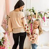 Вышиванка рубашка  для девочки трояндочка  на  пудровой  ткани, фото 5