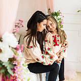 Вышиванка рубашка  для девочки трояндочка  на  пудровой  ткани, фото 6