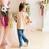 Вышиванка рубашка  для девочки трояндочка  на  пудровой  ткани, фото 3