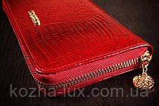 Кошелек женский кожаный темно красный на молнии, кожа натуральная, фото 3