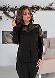 Блуза жіноча з вставками з чорного гіпюру (вія)42,44,46,48 р.(3расцв)., фото 5