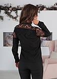 Блуза жіноча з вставками з чорного гіпюру (вія)42,44,46,48 р.(3расцв)., фото 6