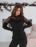 Блуза жіноча з вставками з чорного гіпюру (вія)42,44,46,48 р.(3расцв)., фото 7