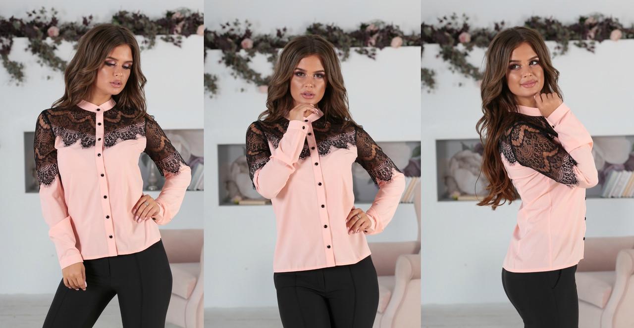 Блуза жіноча з вставками з чорного гіпюру (вія)42,44,46,48 р.(3расцв).