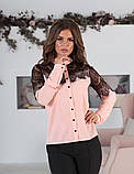 Блуза жіноча з вставками з чорного гіпюру (вія)42,44,46,48 р.(3расцв)., фото 3