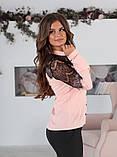 Блуза жіноча з вставками з чорного гіпюру (вія)42,44,46,48 р.(3расцв)., фото 2