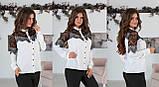Блуза жіноча з вставками з чорного гіпюру (вія)42,44,46,48 р.(3расцв)., фото 8