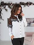 Блуза жіноча з вставками з чорного гіпюру (вія)42,44,46,48 р.(3расцв)., фото 9