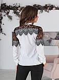 Блуза жіноча з вставками з чорного гіпюру (вія)42,44,46,48 р.(3расцв)., фото 10
