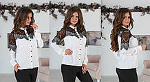 Блузка женская с вставками из черного гипюра (ресничка)42,44,46,48р.(3расцв).