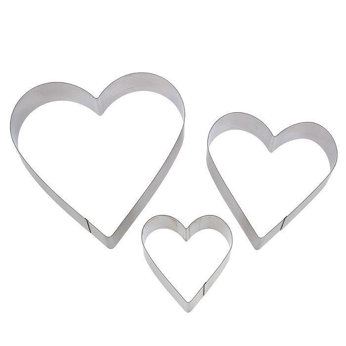 Набор форм для выпечки Сердце 3 шт