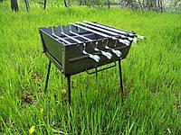 Мангал чемодан складной на 6 шампуров, толщина 2мм, ручка для переноски, компактный