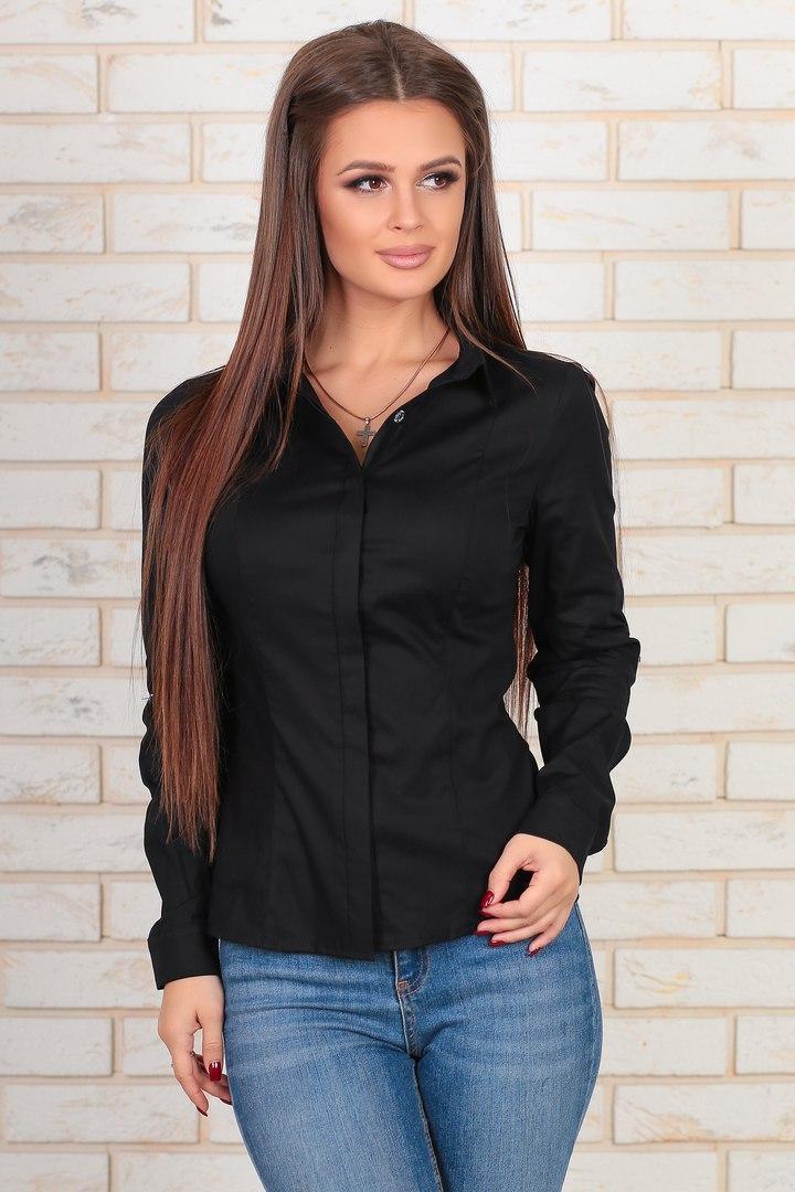 Женская классическая блузка на пуговицах 100% хлопок 42,44,46,48р.(3расцв).