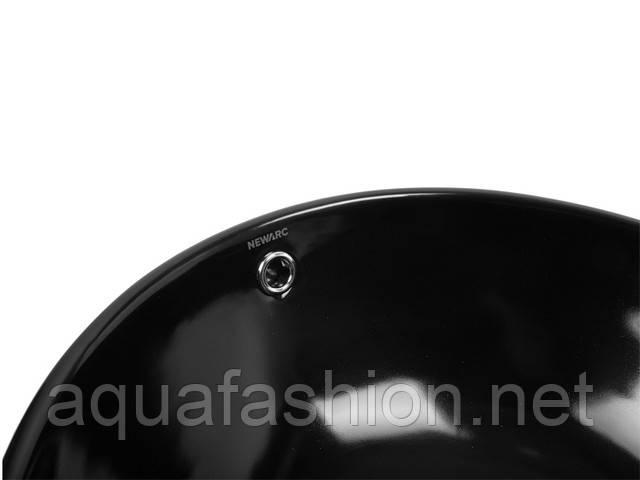 Чорний круглий умивальник на стільницю 42 см Newarc Countertop 5010B