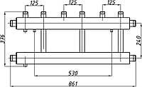 Коллектор стальной с креплением К32В.125. (240) СК-352.125 (выход вверх)