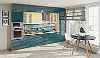Кухня под потолок циан глянец/ваниль глянец