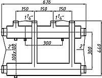 Коллектор стальной с креплением К22В.150.(300) СК-253.150 (выход вверх)