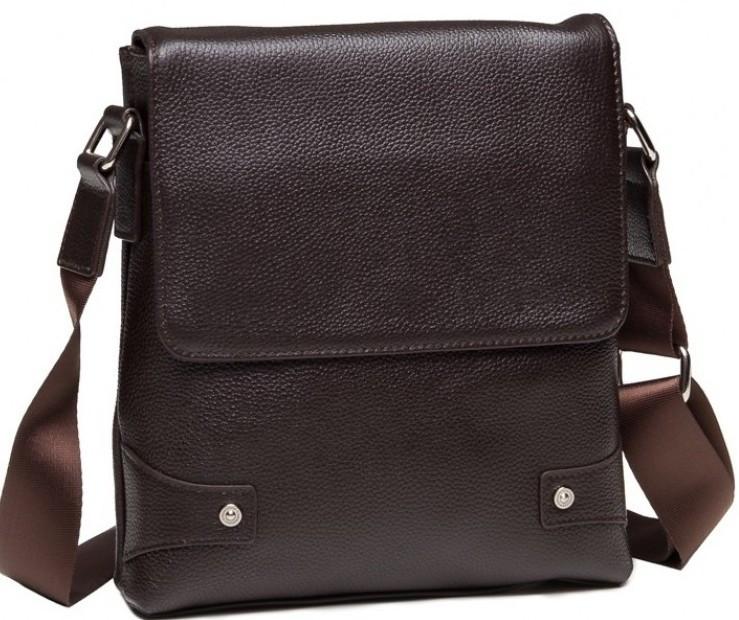 Мессенджер кожаный Tiding Bag A25-033C, мужской, коричневый