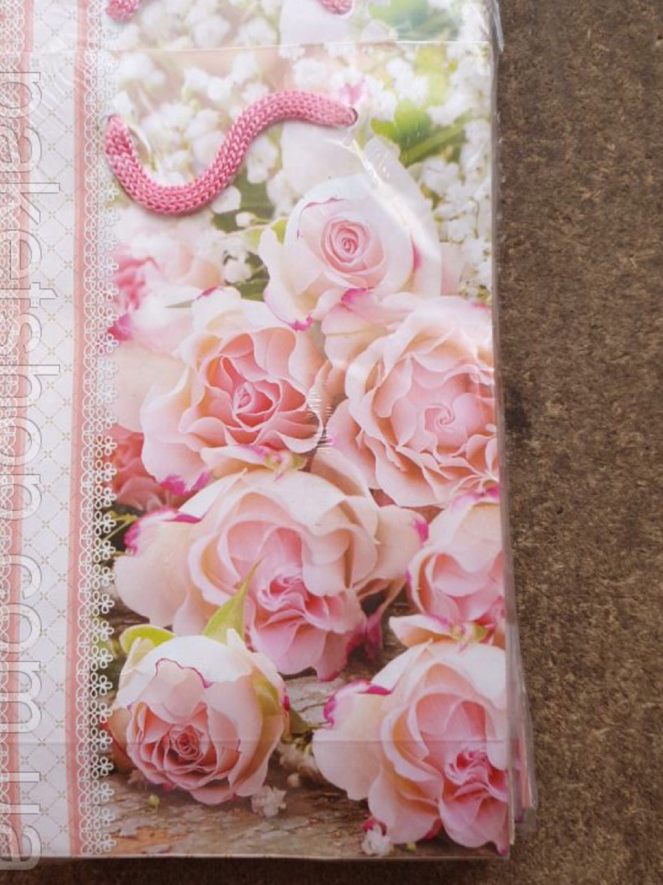 Подарочный бумажный пакет МИНИ 8*12*3.5 см Нежный