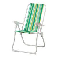 HÅMÖ  Кресло с регулируемой спинкой, складной зеленый, полоска