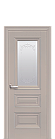 Дверное полотно Статус Капучино со стеклом сатин, молдингом и рисунком
