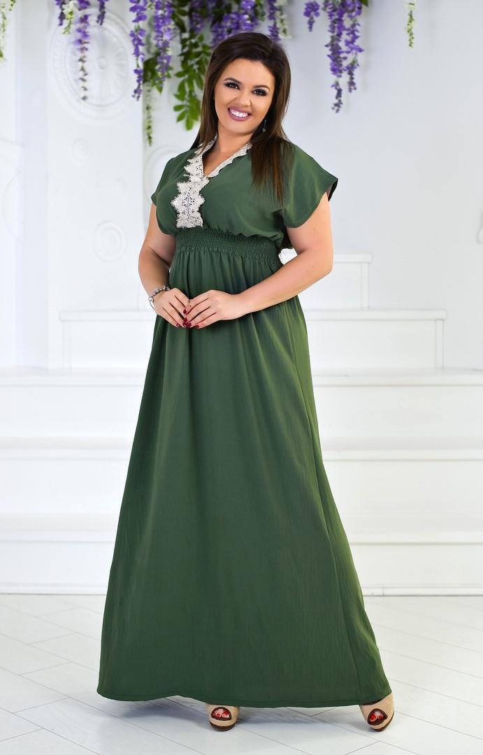 """Длинное летнее платье """"Burchett"""" с кружевом и коротким рукавом (большие размеры)"""
