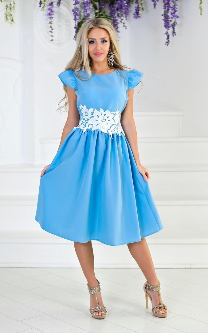 """Летнее приталенное миди-платье """"Foley"""" с кружевом на поясе (2 цвета)"""