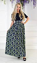 """Длинное летнее платье """"Powell"""" с шифоновой юбкой в цветочек (2 цвета), фото 3"""