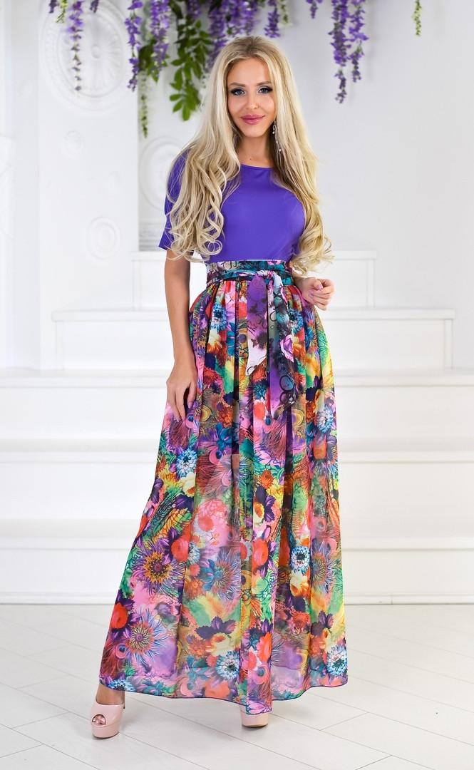 """Длинное летнее платье """"Powell"""" с шифоновой юбкой в цветочек (2 цвета)"""