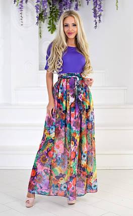 """Длинное летнее платье """"Powell"""" с шифоновой юбкой в цветочек (2 цвета), фото 2"""