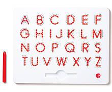 Магнитная доска для изучения больших английских печатных букв от А до Z, 3+ (цвет красный) Kid O