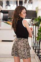 """Кожаные женские мини-шорты """"Reptil"""" со змеиным принтом (2 цвета), фото 3"""
