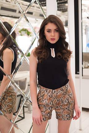 """Кожаные женские мини-шорты """"Reptil"""" со змеиным принтом (2 цвета), фото 2"""