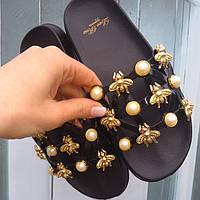 Женские шлепки с пчеламы черные Gipanis НОВИНКА, фото 1